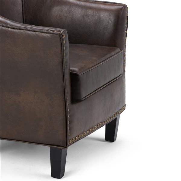 Simpli Home Kildare 18-in Brown Faux Leather Tub Chair