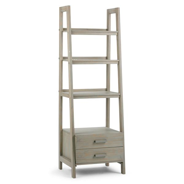 Simpli Home Sawhorse 72-in x 24-in Gray Pine Ladder Shelf with Storage