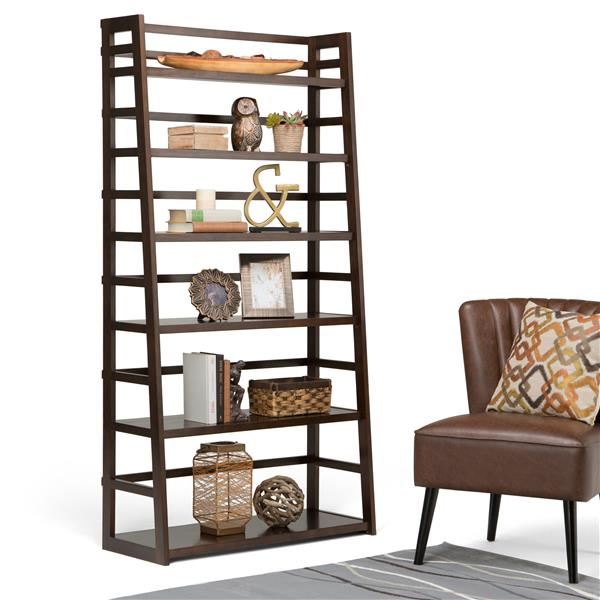 Simpli Home Acadian 72-in x 36-in Pine Tobacco Brown Wide Shelf Bookcase