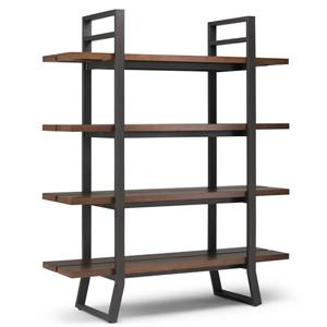 Simpli Home Adler 18-in x 54-in x 66-in Pine Light Walnut Brown Bookcase
