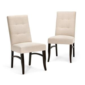 Simpli Home Ezra Off-White 20.30-in X 39.40-in Dining Chairs Set of 2