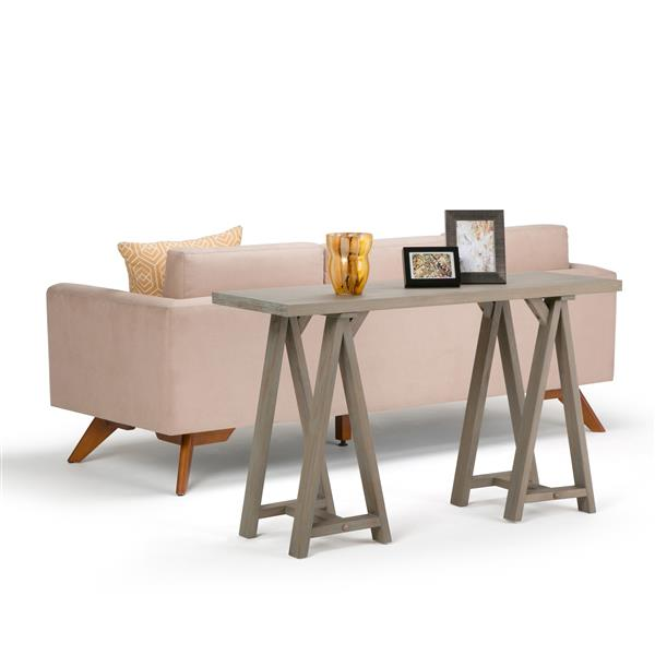 "Table console pour salon Sawhorse, 9,5"", gris"