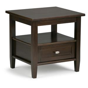 Simpli Home Warm Shaker 20.1-in x 18.1-in x 19.7-in Brown End Table