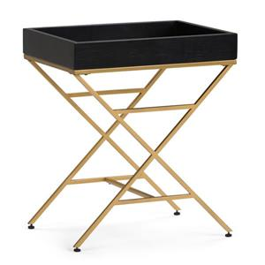 Simpli Home Moria 20.1-in x 15.4-in x 24-in Black Rectangular Accent Table