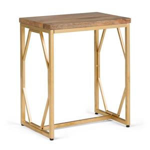 Simpli Home Selma 13.4-in x 19-in x 23.5-in Gold Rectangular Accent Table
