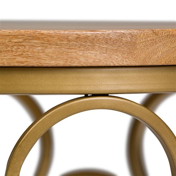 Simpli Home Sadie 17-in x 17-in x 22-in Round Gold Accent Table
