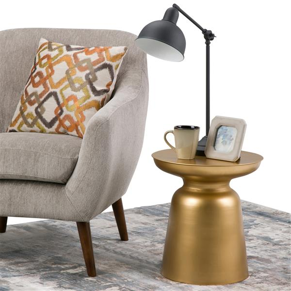 Simpli Home Toby 16.5-in x 16.5-in x 18.1-in Round Gold Accent Table