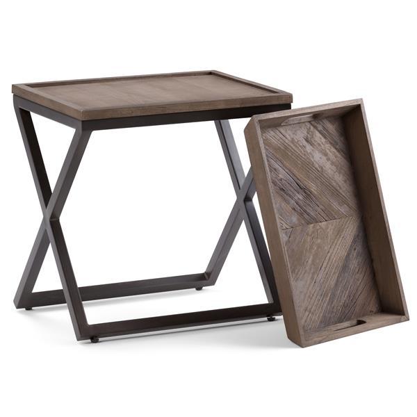 Simpli Home Damien 14.2-in x 20.1-in x 22-in Brown Square Side Table