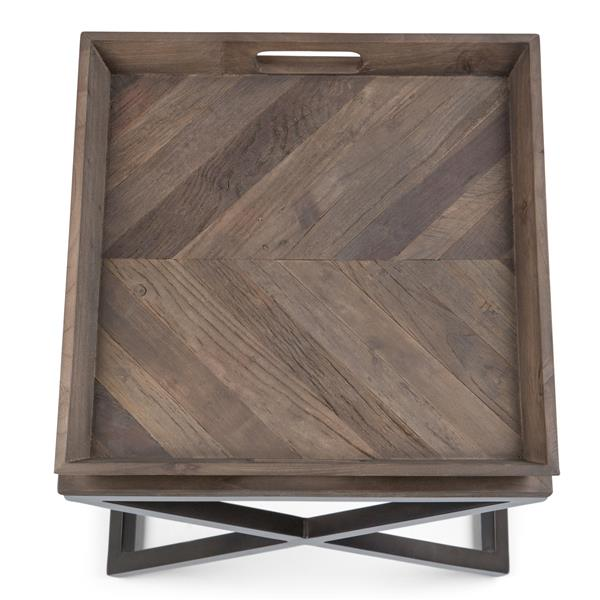 Simpli Home Damien 20.1-in x 20.1-in x 20.1-in Brown Square End Table