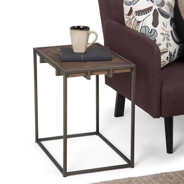 Simpli Home Avery 14-in x 20-in x 20-in Brown Rectangular End Table
