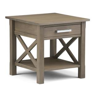 Simpli Home Kitchener 20.5-in x 20.5-in x 20-in Gray Square End Table