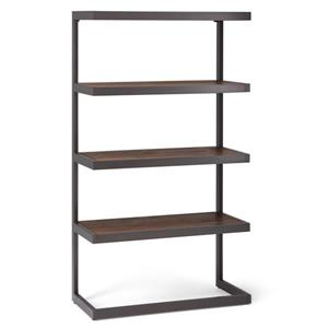 Simpli Home Erina Rustic Natural Aged Brown Asian Hardwood Bookcase