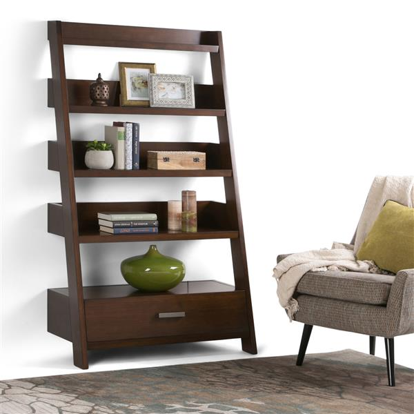 Simpli Home Deanna Medium Auburn Brown Pine Ladder Shelf
