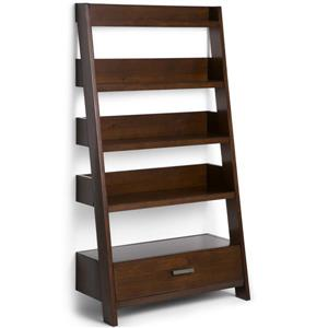Simpli Home Deanna Medium Auburn Brown Pine Ladder Shelf
