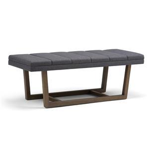 Simpli Home Jenson 53-in x 19.1-in x 18.1-in Gray Linen Ottoman Bench