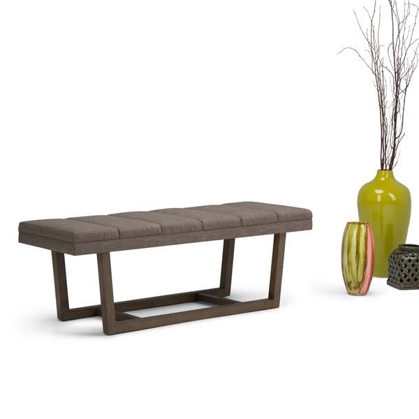 Simpli Home Jenson 53-in x 19.1-in x 18.1-in Brown Linen Ottoman Bench
