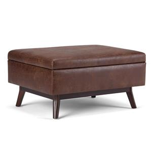 Simpli Home Owen Saddle Brown Coffee Table Ottoman with Storage