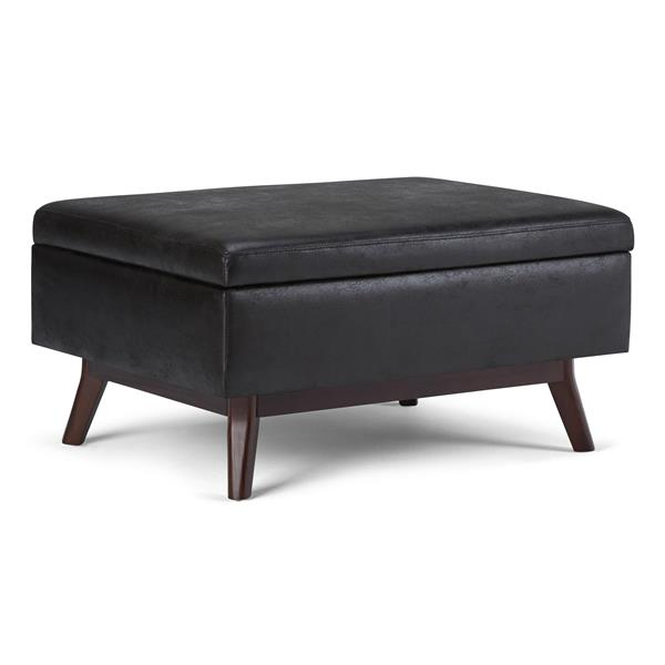 Simpli Home Owen 34.1-in x 26-in Distressed Black Coffee Table Ottoman with Storage
