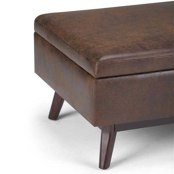 Simpli Home Owen Chestnut Brown Coffee Table Ottoman with Storage