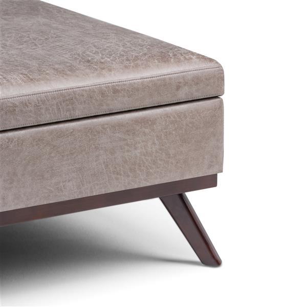 Table à café ottoman avec rangement carrée Owen, gris