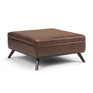 Simpli Home Owen  Distressed Chestnut Brown Square Coffee Table Ottoman with Storage