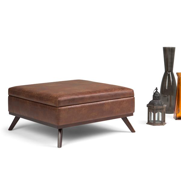 Simpli Home Owen Distressed Saddle Brown Square Coffee Table Ottoman with Storage