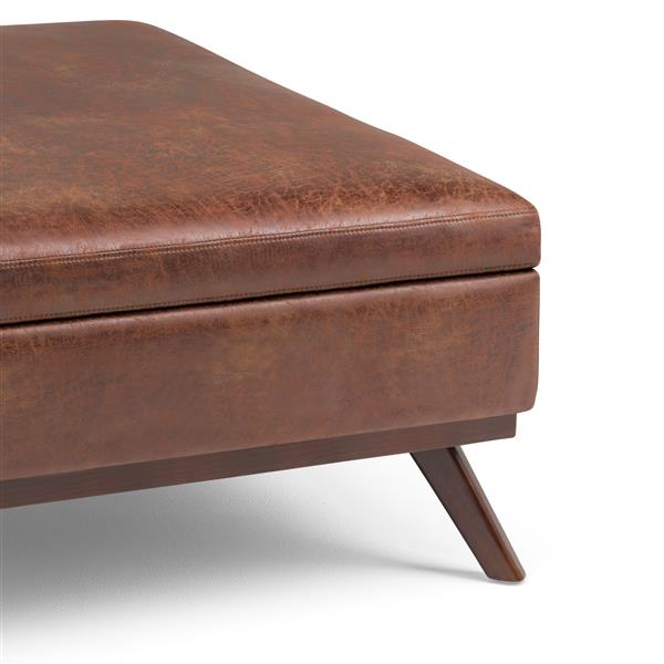 Swell Simpli Home Owen Distressed Saddle Brown Square Coffee Table Ottoman With Storage Squirreltailoven Fun Painted Chair Ideas Images Squirreltailovenorg