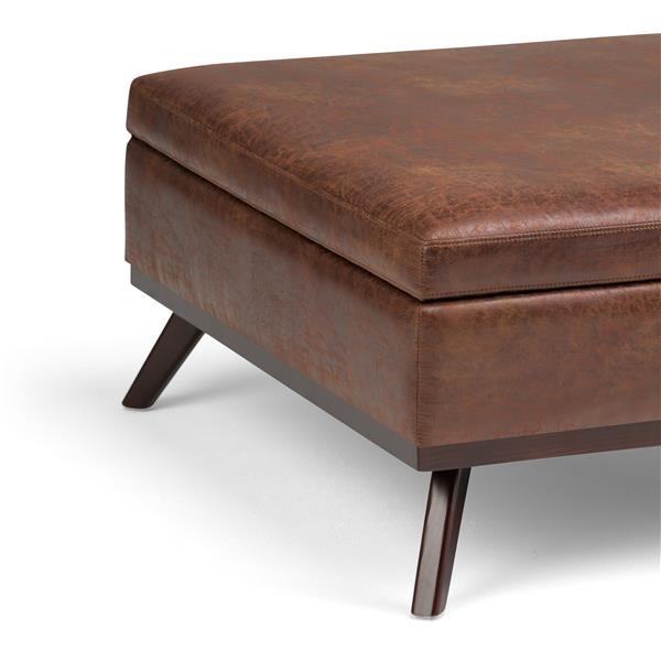 Astounding Simpli Home Owen Distressed Saddle Brown Square Coffee Table Ottoman With Storage Squirreltailoven Fun Painted Chair Ideas Images Squirreltailovenorg
