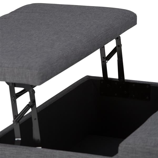 Simpli Home Ellis 36-in x 36-in x 16.5-in Grey Linen Coffee Table Storage Ottoman