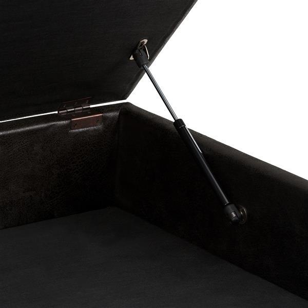 """Table à café ottoman avec rangement Owen, 38""""x38"""", noir"""