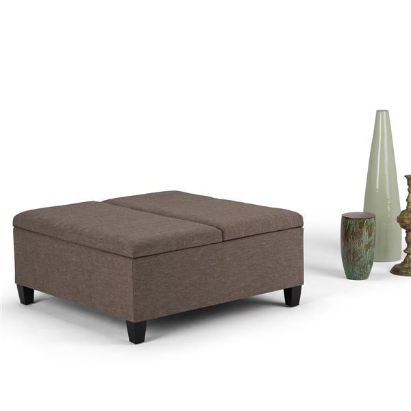 Simpli Home Ellis 36-in x 36-in x 16.5-in Brown Coffee Table Storage Ottoman