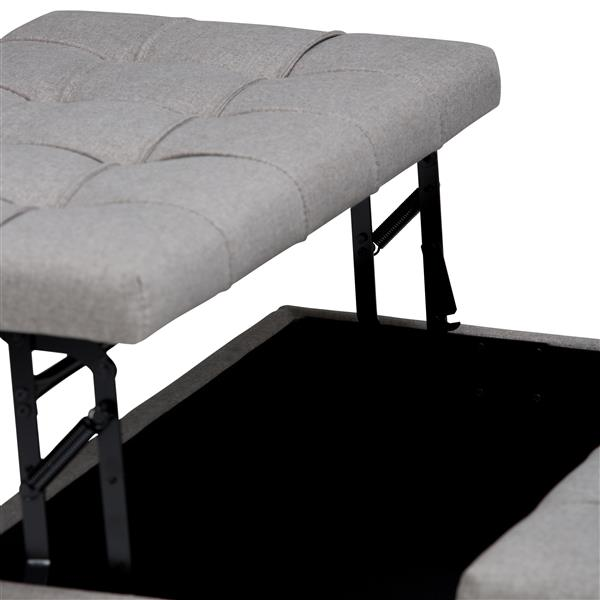"""Table à café ottoman avec rangement Harrison, 36""""x36"""", gris"""
