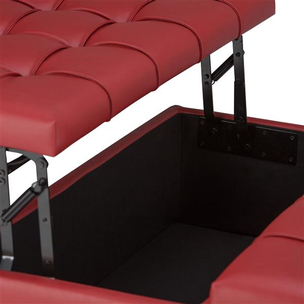 Simpli Home Harrison 36-in x 36-in x 16.5-in Red Coffee Table Storage Ottoman