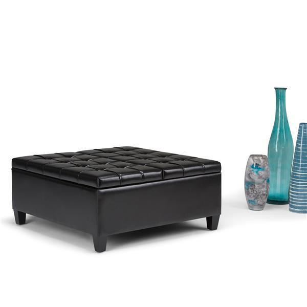 Simpli Home Harrison 36-in x 36-in x 16.5-in Black Coffee Table Storage Ottoman