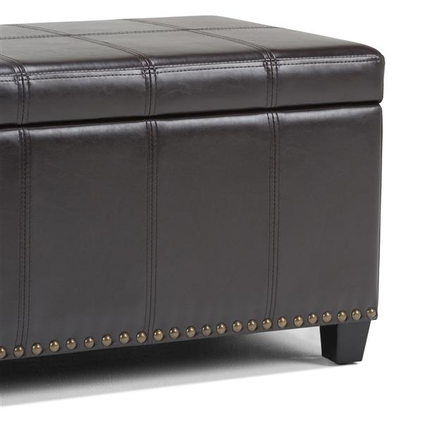 Simpli Home Amelia 33.5-in x 18-in x 16.5-in Brown Storage Ottoman Bench