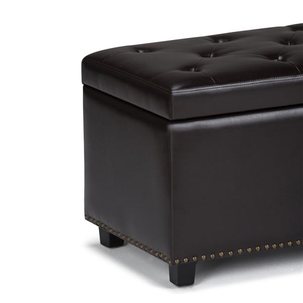 Simpli Home Hannah 33.7-in x 17.7-in x 18.7-in Brown Storage Ottoman Bench