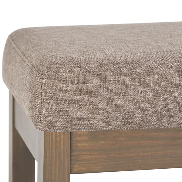 Simpli Home Milltown 44.1-in x 14.4-in x 18.3-in Brown Linen Large Ottoman Bench