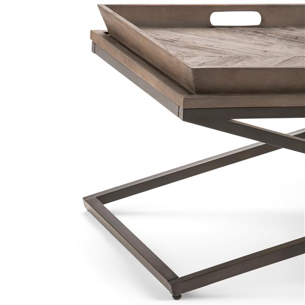 Simpli Home Damien 50-in x 24-in x 18.1-in Brown Satin Rectangular Coffee Table With Unique Storage On Top