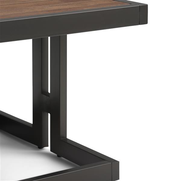 Simpli Home Erina 50-in x 32-in x 18.5-in Black Metal and Brown Acacia Rectangular Coffee Table