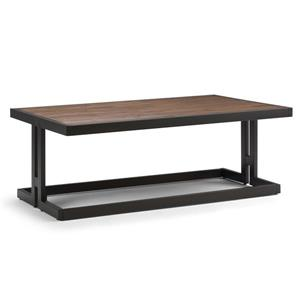 Simpli Home Erina 50-in x 32-in x 18.5-in Black Metal and Brown Acacia Rectangular Coffee Table