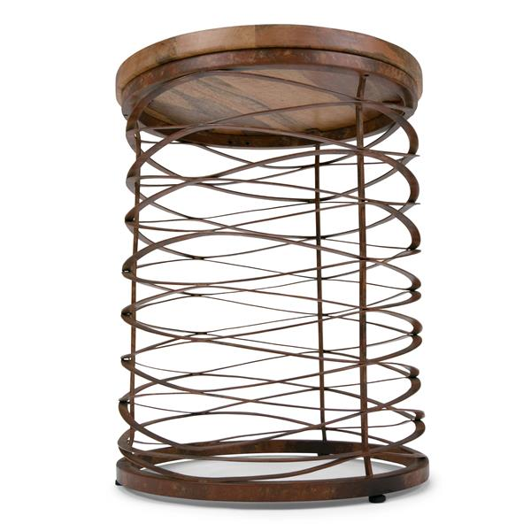 Simpli Home Miley 17-in x 17-in x 21.5-in Brown Round Accent Table