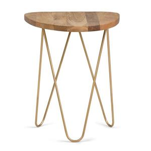Simpli Home Patrice 18-in x 17.7-in x 21.3-in Round Gold Accent Table