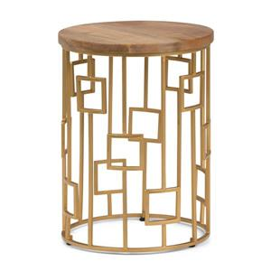 Simpli Home Rhys 15.75-in x 15.75-in x 21.5-in Round Gold Accent Table