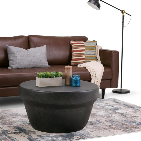 Simpli Home Garvy 33-in x 33-in x 17.5-in Bronze Round Coffee Table