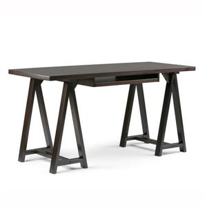 Sawhorse 60-in Dark Chestnut Brown Pine Desk