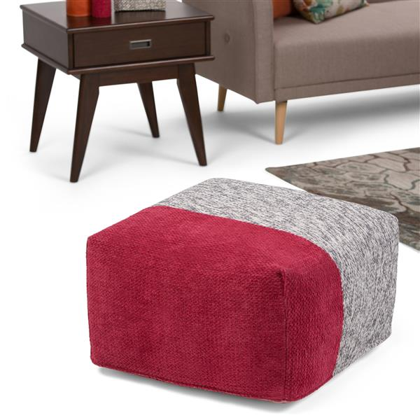 Simpli Home Emmett 24-in x 24-in x 14-in Red Cotton Square Pouf