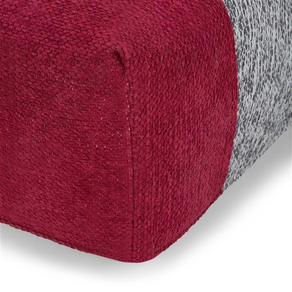 Simpli Home Emmett 24-in x 24-in x 14-in Red Cotton Square Pouf