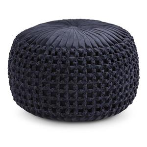Simpli Home Renee 20-in x 20-in x 14-in Velvet Navy Blue Round Pouf