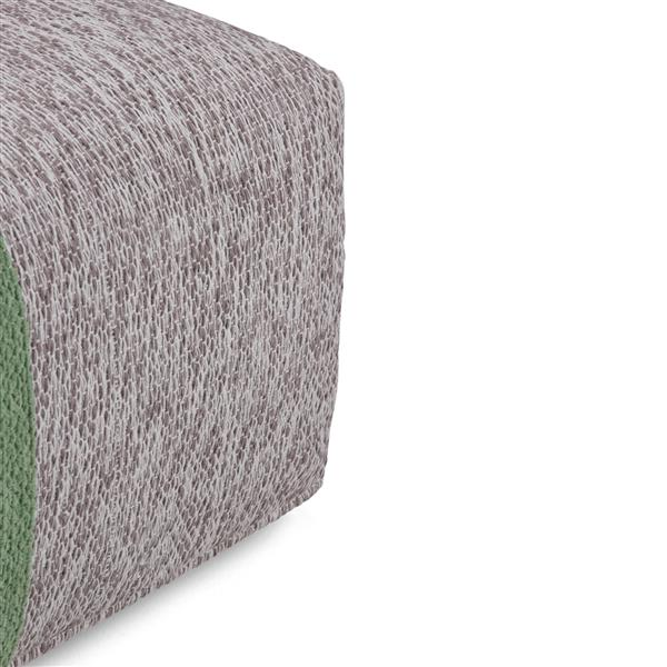 Simpli Home Emmett 24-in x 24-in x 14-in Green Cotton Square Pouf