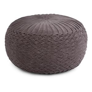 Simpli Home Grafton 20-in x 20-in x 14-in Grey Velvet Round Pouf